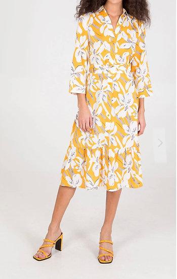 Flora Print Button Front Dress- Sunflower Yellow