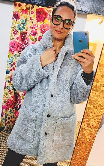 Teddy Bear Coat in Ice blue
