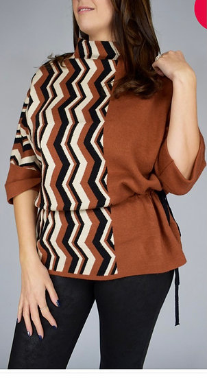 Zig zag drawstring knit top