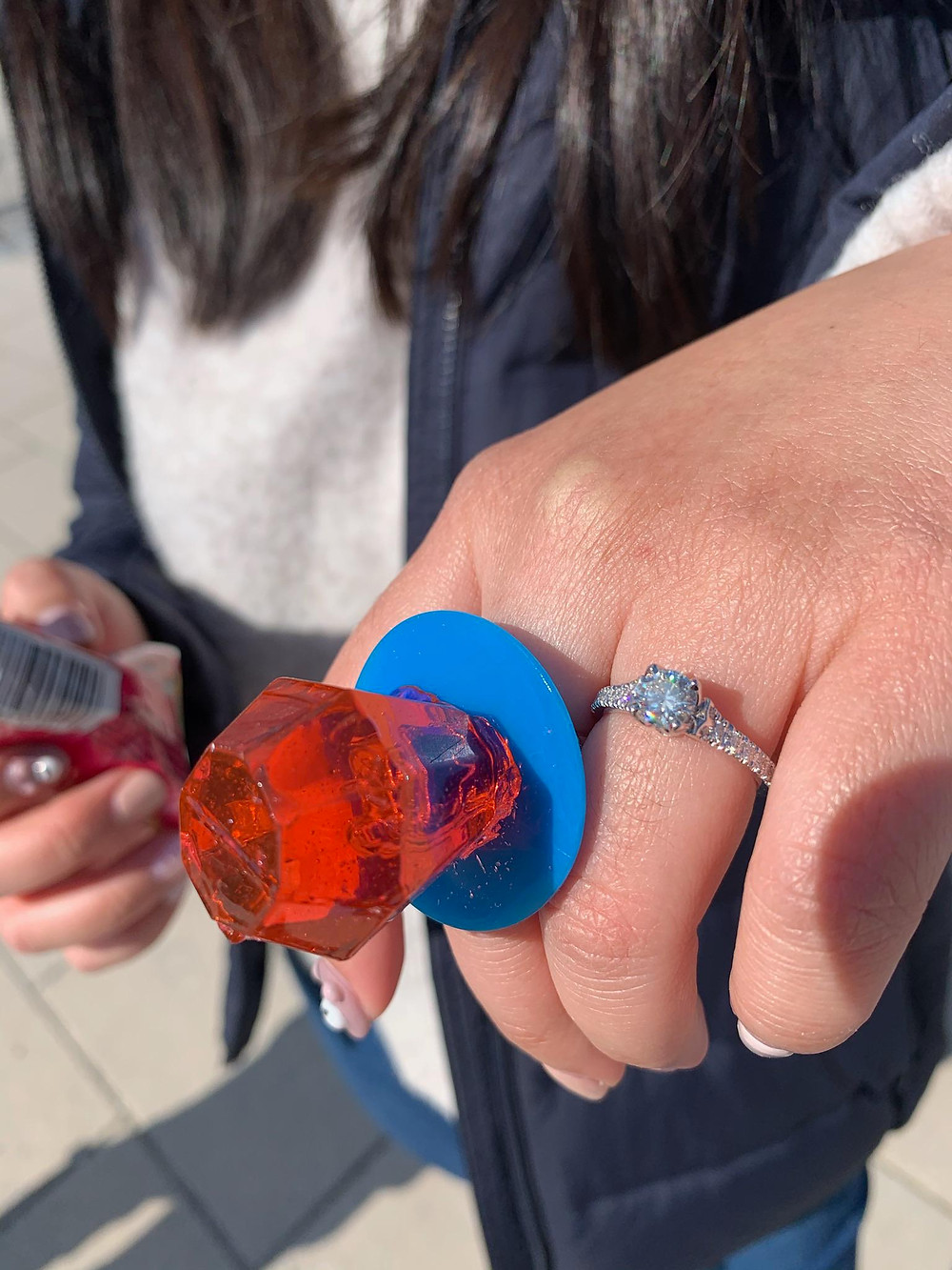 My boyfriend proposed during quarantine and we got engaged with a ring pop.