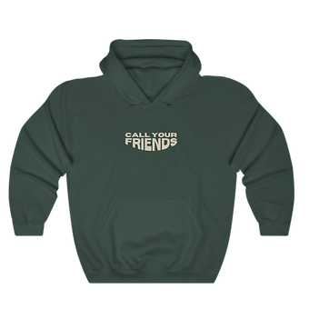 call your friends green unisex men and women hoodie which supports mental health efforts