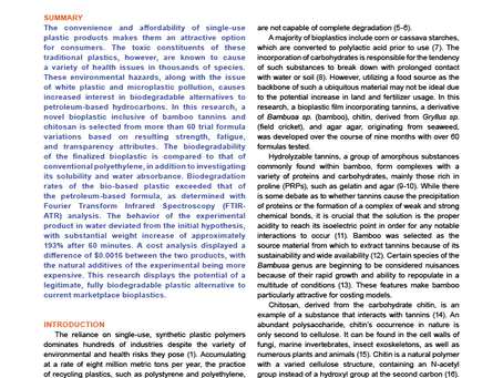Read my newly published paper on creating a Sustainable Plastic Alternative ...