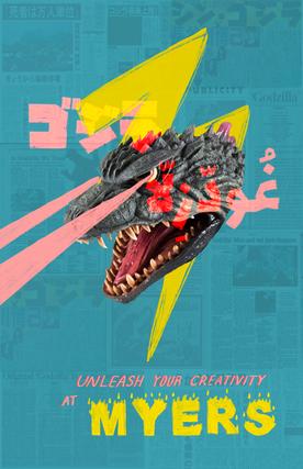 godzilla poster for myers school of art