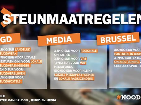 Alle steunmaatregelen voor Jeugd, Media en Brussel op een rijtje