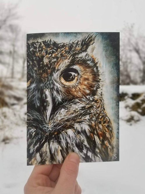 Picky owl greeting card