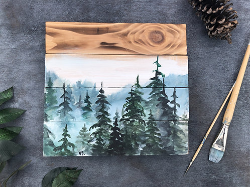 Blue misty trees