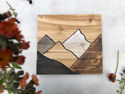 Mountains on wood