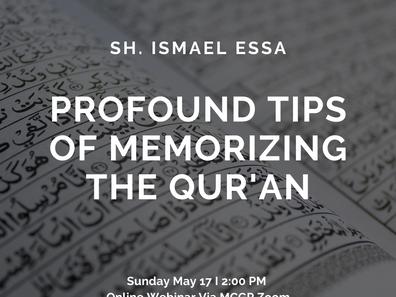 Special Webinar: Profound Tips of Memorizing The Qur'an