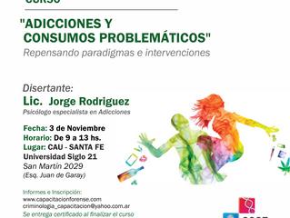 """Curso """"Adicciones y Consumos Problemáticos: Repensando paradigmas e Intervenciones"""""""