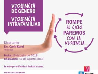 """Curso Virtual: """"Violencia de Género - Violencia Intrafamiliar"""""""