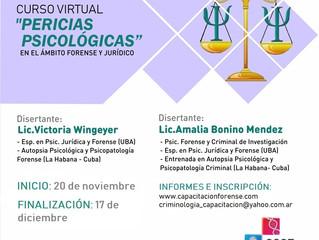 """Curso virtual """"Pericias psicológicas en el ámbito forense y jurídico"""""""