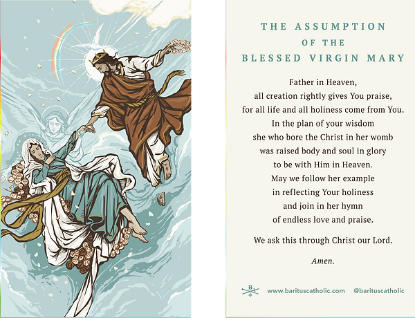 Assumption of The Blessed Virgin Prayer Card