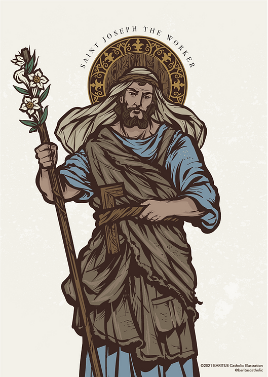Saint Joseph the Worker by BARITUS Catholic Illustration