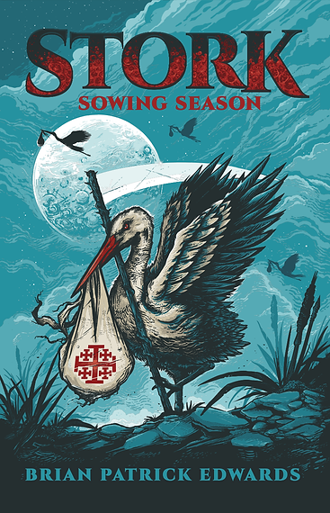 Stork Sowing Season Book Cover by BARITUS Catholic Illustration
