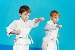 two boys training karate kata exercises