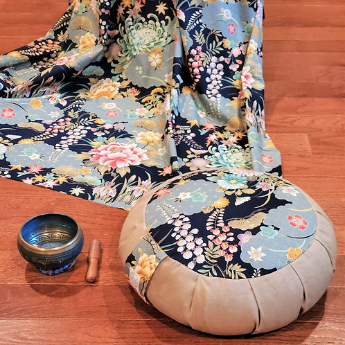 Japanese Garden Meditation Cushion in Navy Blue
