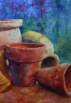 Still life terracotta pots, large