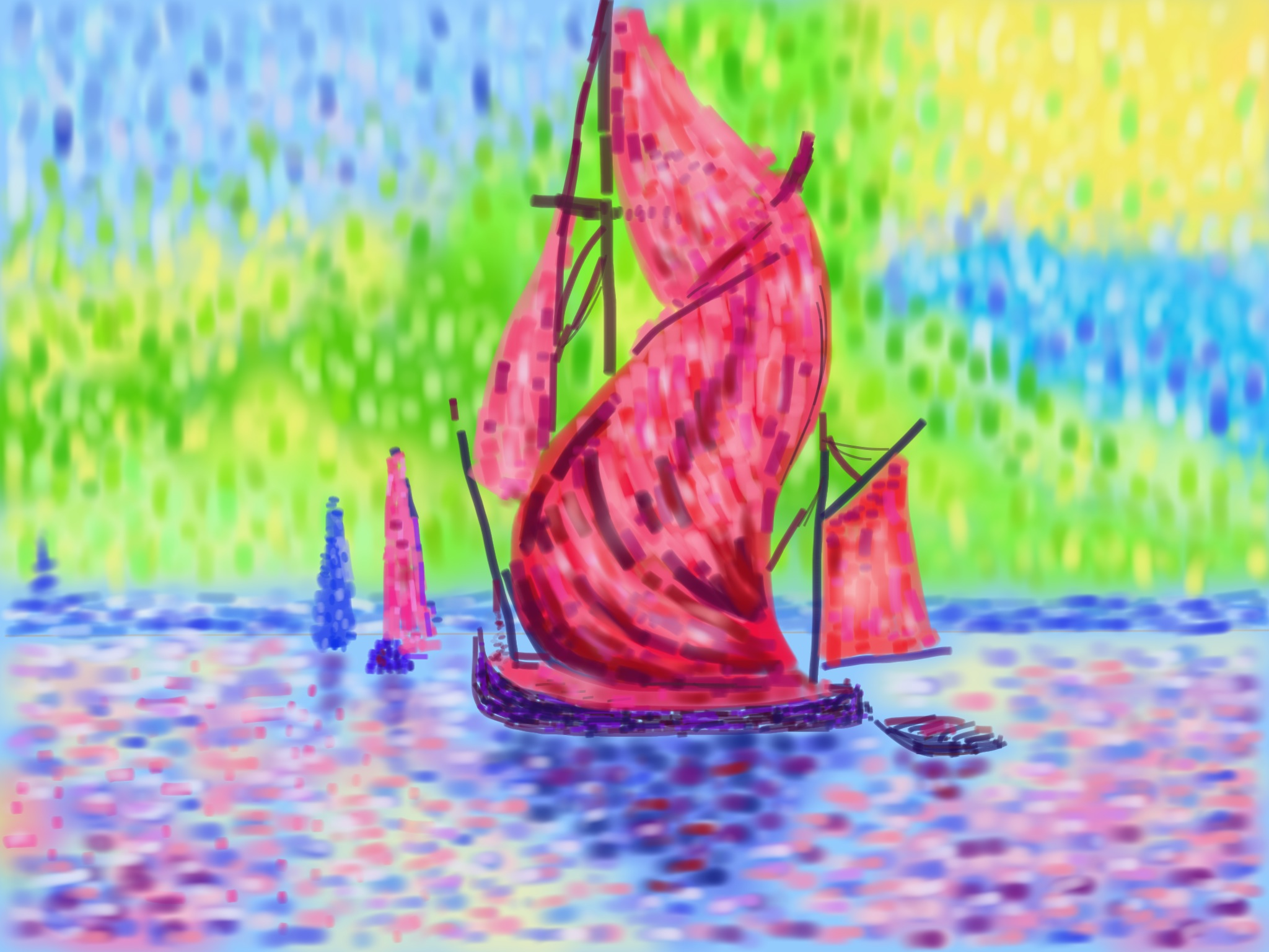 Pointillist boats