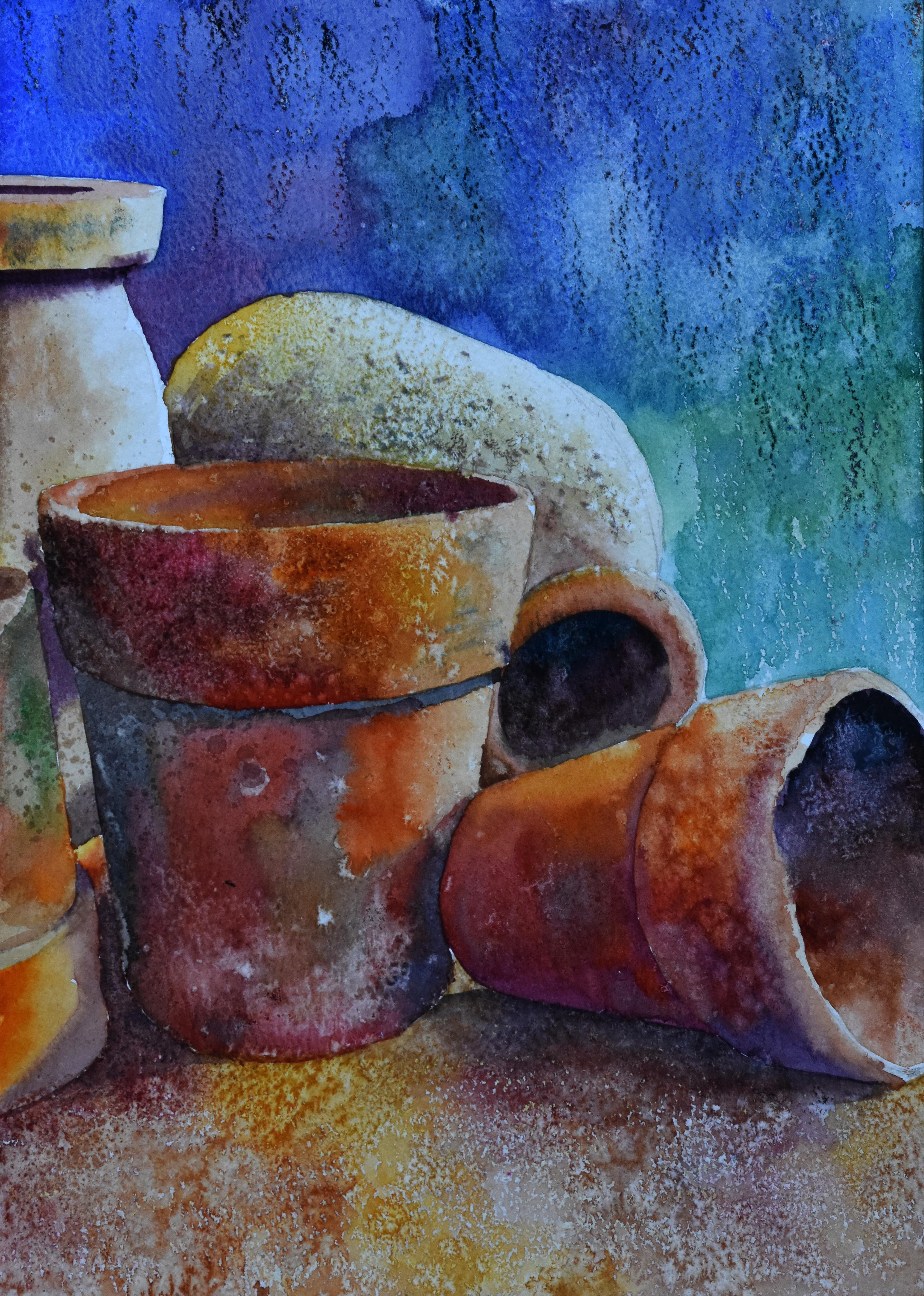 Still life terracotta pots