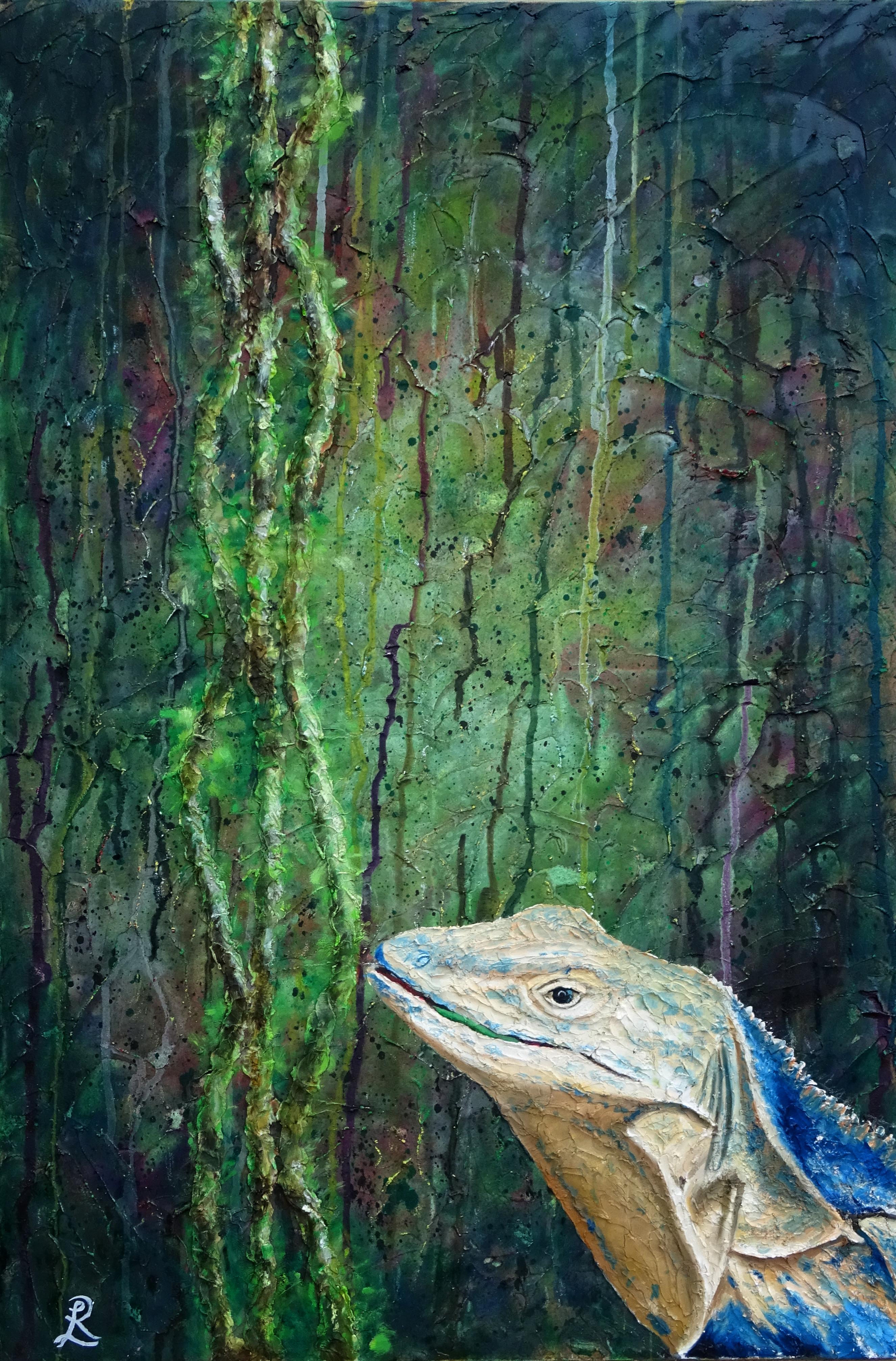 Costa Rica Iguana and lianas