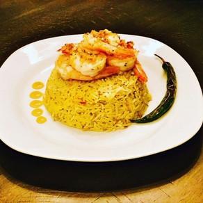 Saffron Rice Pilaf with Garlic Shrimp