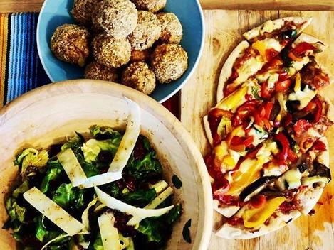 Mushroom Arancini, Pizza and salad