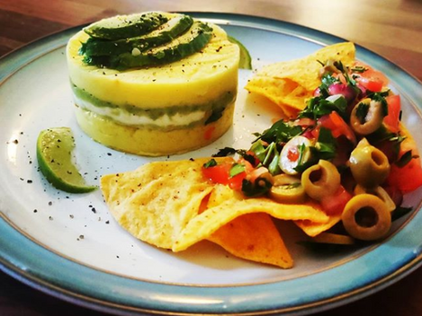 Peruvian Causa with vegan ceviche