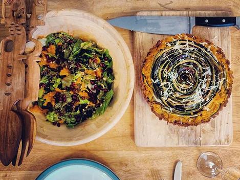 """Roasted veg """"flower"""" tart"""