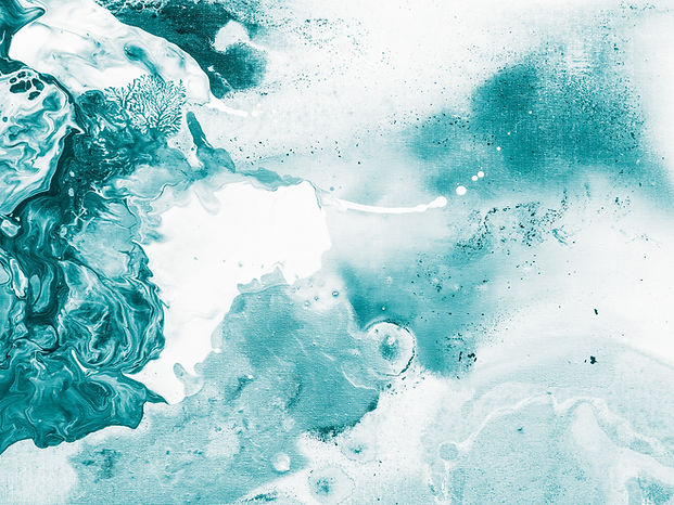 A marbling effect of teal swirls and water marks