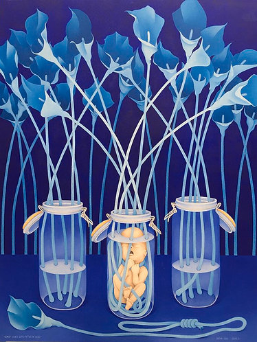 Calla Lillies with Fetus in Blue