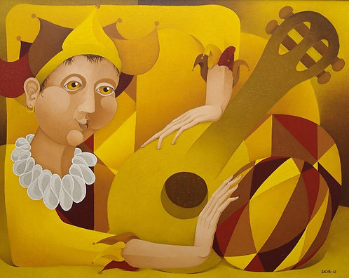 Harlequin with Lute