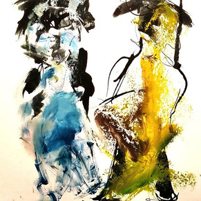 #7 Dont't argue: Oil and ink on paper