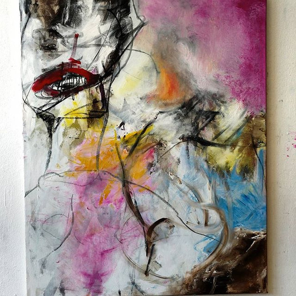 #1 work on canvas oil and charcoal