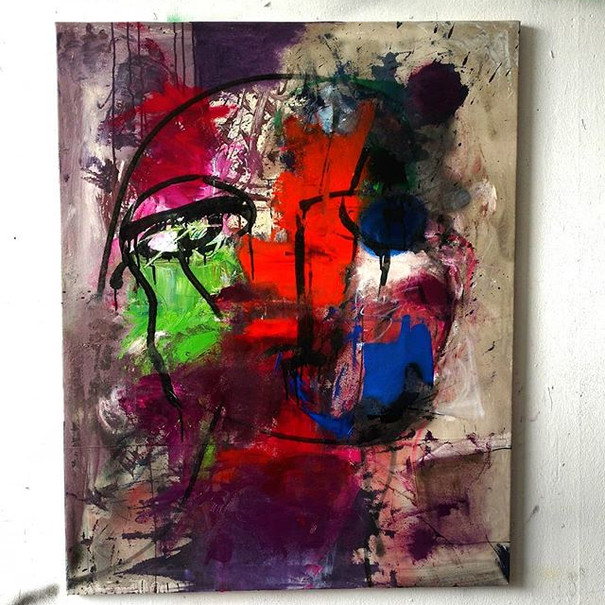 #7 Oil, acrylic, ink on raw canvas