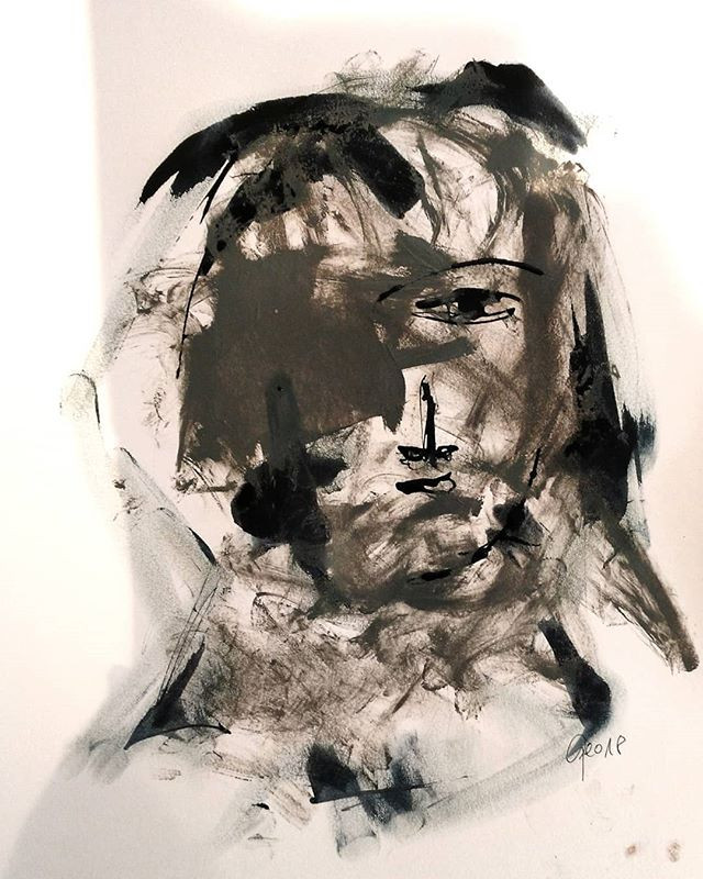 #3 oil and ink on paper