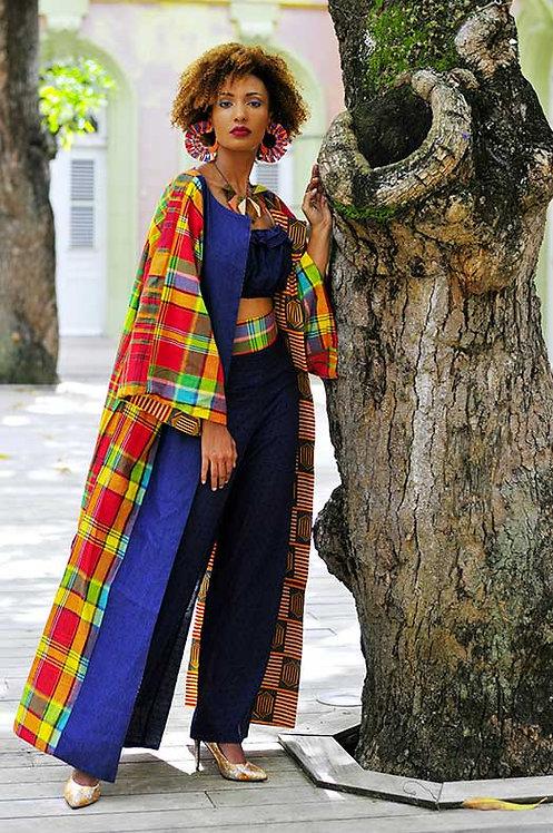 Manteau réversible en jean/madras et tenté