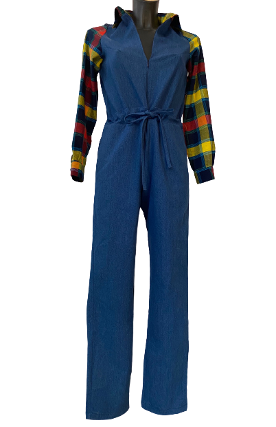 Combi en jean et madras