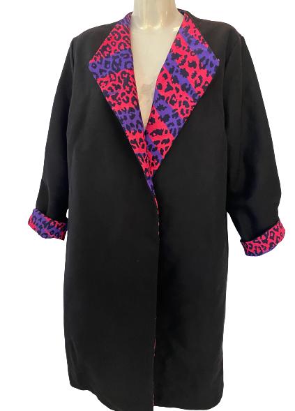 Manteau réversible en laine et wax
