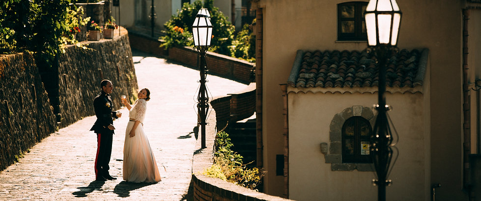 bride and geoom in savoca sicily