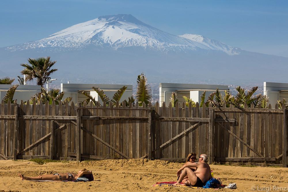 Nucleika, etna from the beach Catania Sicily
