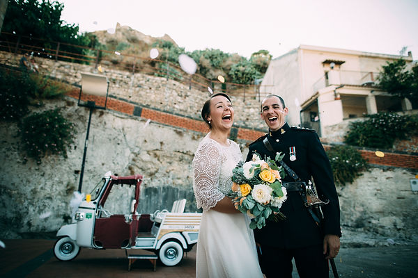 bride and groom smiling in sicily italy
