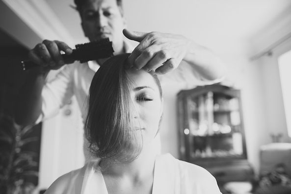 hair stylist in action