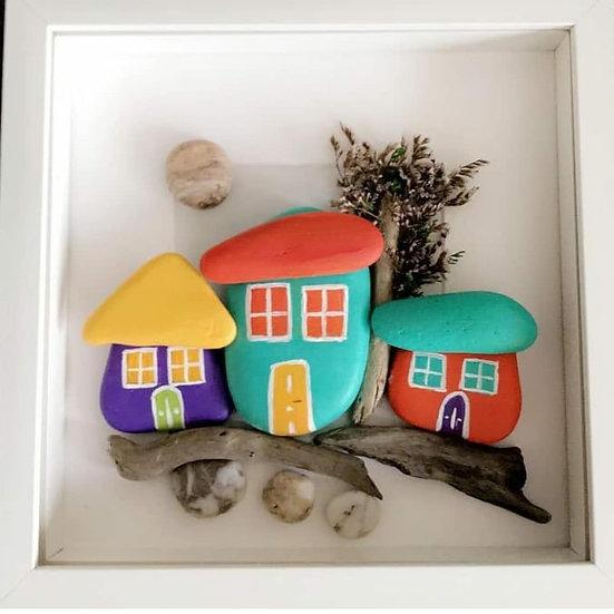 Renkli Büyük Taş Evler (3'lü)