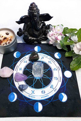 New and Full Moon Astrology Ritual Crystal Grid