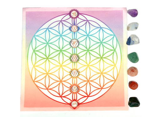 SET: Flower of Life Chakra Crystal, Grid Altar Cloth with 7 Chakra Stones