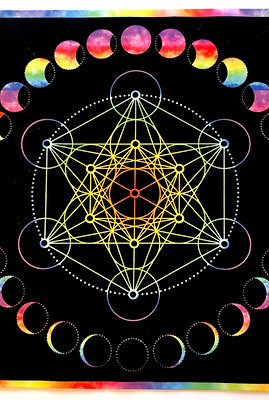 Tie Dye Metatron Crystal Grid, Tarot Cloth, Altar Cloth