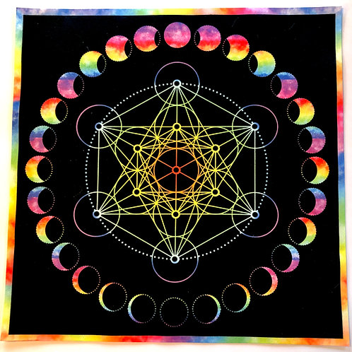 Tie Dye Metatron Crystal Grid, Tarot Cloth, Altar Cloth