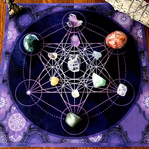Metatron Crystal Grid, Tarot Cloth, Altar Cloth