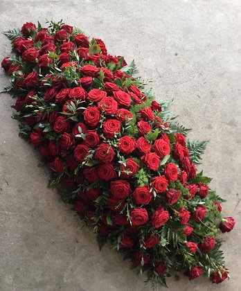 5ft red rose coffin spray