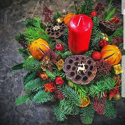 Red candle wreath